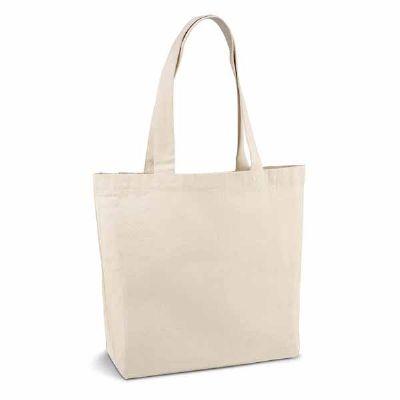 - Sacola. 100% algodão canvas: 280 g/m². Com bolso interior e alças de 65 cm. 450 x 380 x 105 mm