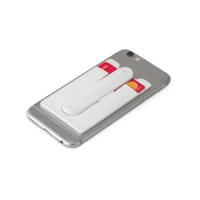 lamarca-brindes - Porta cartões para smartphone. Silicone. Com autocolante no verso e suporte para smartphone. 57 x 96 x 5 mm, 01 cor de gravação.