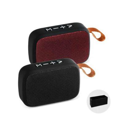 Lamarca Brindes - Caixa de som com microfone. ABS e tecido em poliéster. Acabamento emborrachado. Com transmissão por bluetooth, ligação stereo 3,5 mm e leitor de cartõ...