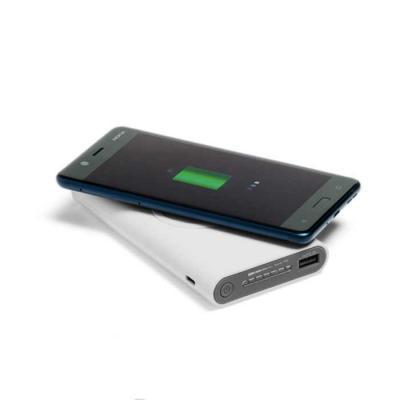 Lamarca Brindes - Bateria portátil wireless. ABS. Acabamento emborrachado. Bateria de lítio. Capacidade: 11.000 mAh. Tempo de vida ≥ 500 ciclos. Com entrada/saída...