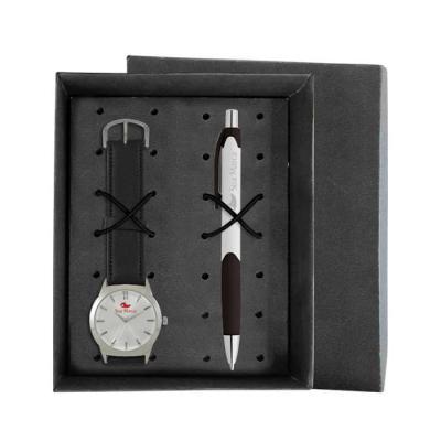 Lamarca Brindes - Kit contém: Relógio de pulso SDF, mostrador soley com 01 cor de gravação, pulseira sintética, certificado de garantia e caneta plastica LA981104 com 0...