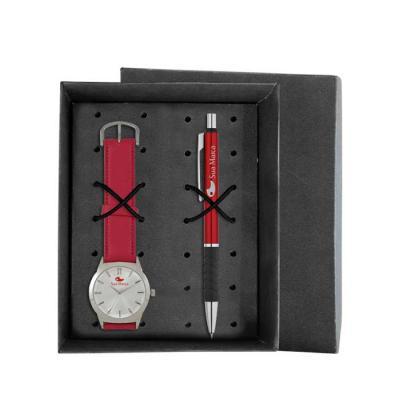Lamarca Brindes - Kit contém: Relógio de pulso SDF, mostrador soley com 01 cor de gravação, pulseira sintética, certificado de garantia e caneta de metal LA991491 com 0...