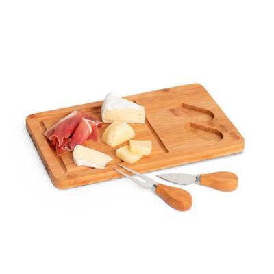 Tábua de queijos. Bambu e aço inox. Com 2 talheres. Incluso caixa de cartão. Food grade. 310 x 18...