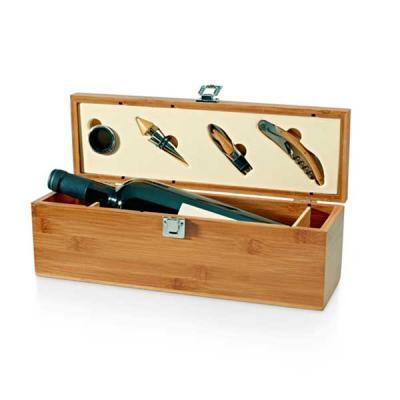 Conjunto para vinho. Bambu e zinco. Saca-rolhas com canivete de sommelier, gargantilha, salva-got...