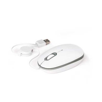 Mouse ótico. Cabo retrátil de 0,70 m com ligação USB. 60 x 103 x 34 mm, 01 cor de gravação
