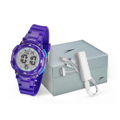 lamarca-brindes - Kit com relógio Speedo, digital, caixa plastico, pulseira de borracha, certificado de garantia do relógio, carregador portátil e embalagem para kit.