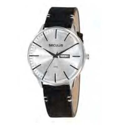 Relógio de pulso, marca Seculus original, caixa em aço, pulseira de couro, mostrador prateado, em...