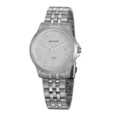 Relógio de pulso, marca Seculus original, caixa em aço, pulseira de aço, mostrador prateado, emba...
