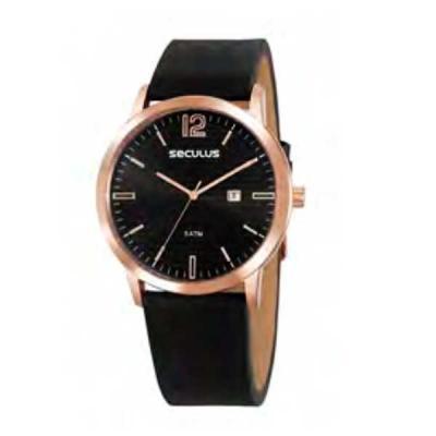 Relógio de pulso, marca Seculus original, caixa em aço, pulseira de couro, mostrador preto, embal...