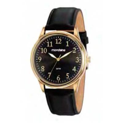 Relógio de pulso, marca Mondaine original, caixa em aço, pulseira de couro, mostrador preto, emba...
