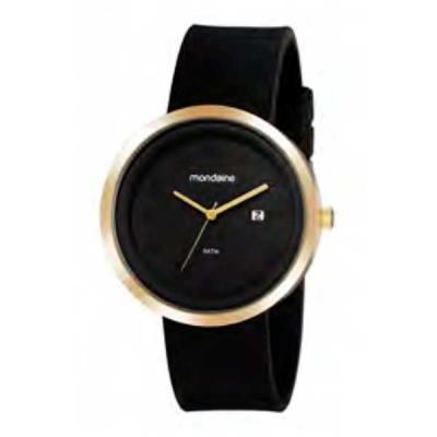 Relógio de pulso, marca Mondaine original, caixa em aço, pulseira de borracha, mostrador preto, e...