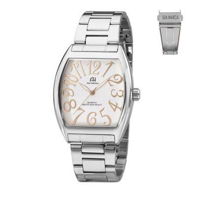 Lamarca Brindes - Relógio de pulso, caixa em aço, pulseira de aço, mostrador prateado, prova d'água, embalagem individual.
