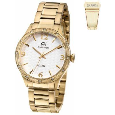 Lamarca Brindes - Relógio de pulso, caixa em aço dourado, pulseira de aço, mostrador branco, prova d'água, embalagem individual.