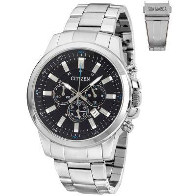 Lamarca Brindes - Relógio de pulso, caixa em aço, pulseira de aço, mostrador preto com calendário, prova d'água, embalagem individual.