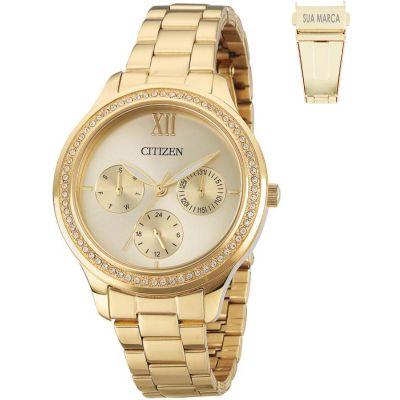 Lamarca Brindes - Relógio de pulso, caixa em aço dourado, pulseira de aço, mostrador dourado, prova d'água, embalagem individual.