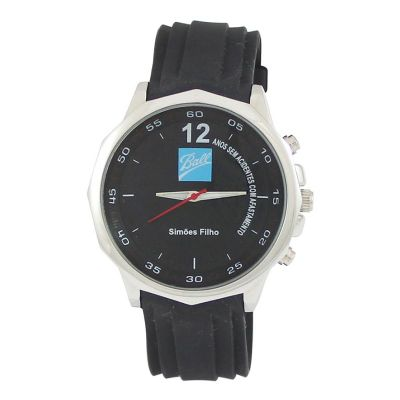 Lamarca Brindes - Relógio de pulso mostrador reformado de acordo com o projeto do cliente, pulseira de borracha.