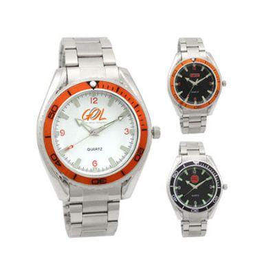 Lamarca Brindes - Relógio de pulso, mostrador branco, pulseira de metal, 01 cor de gravação. Acompanha certificado com um ano de garantia e embalagem individual.