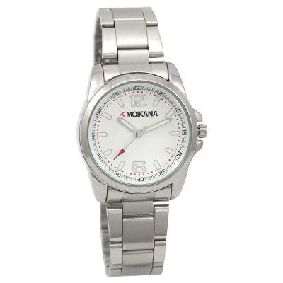 Lamarca Brindes - Relógio de pulso com mostrador cinza, pulseira de metal, 01 cor de gravação. Acompanha certificado de garantia e embalagem individual.