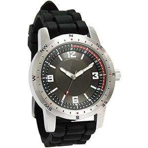 Relógio de pulso em aço com mostrador preto e uma cor de gravação.