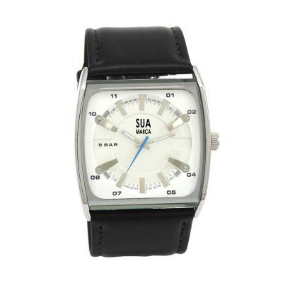 lamarca-brindes - Relógio de pulso com mostrador branco e uma cor de gravação.