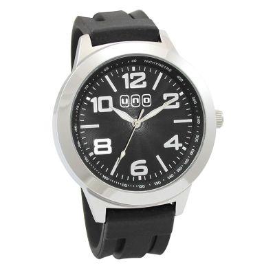 Lamarca Brindes - Relógio de pulso com mostrador preto e uma cor de gravação.