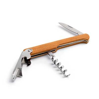 Saca-rolhas. Madeira. Com abridor de garrafas e canivete de sommelier. 109 x 25 x 8 mm, 01 cor de...