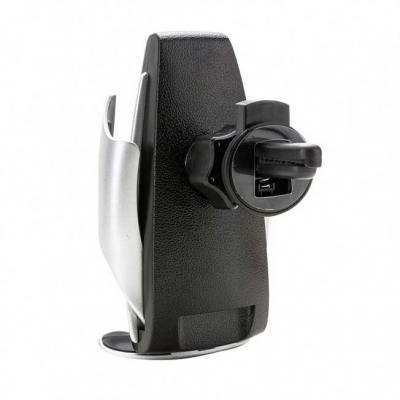Suporte veicular plástico com carregamento por indução. O suporte possui um sensor de movimento f...