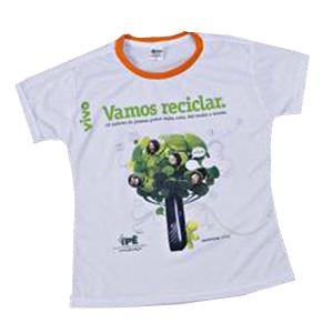 Opção Promocional - Camiseta gola careca, manga curta, com impressão personalizada.