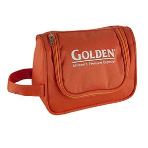 opcao-promocional - Com bolso interno e gancho, alça de mão, personalizada em silk ou bordado.