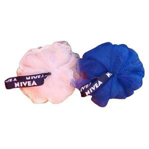 Opção Promocional - Esponja de banho, com fita personalizada em silk emborrachado.