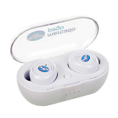 Fone Bluetooth com Base Carregadora, Intra-Auricular, Branco, impressão colorida na base e nos fo...
