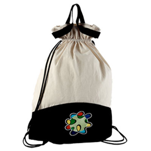 Mochila saco ecológica, confeccionada em lonita cru e colorida. - Opção Promocional