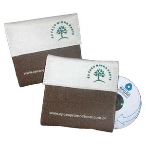 Opção Promocional - Porta-CD ecológico, confeccionado em lonita cru ou colorida.