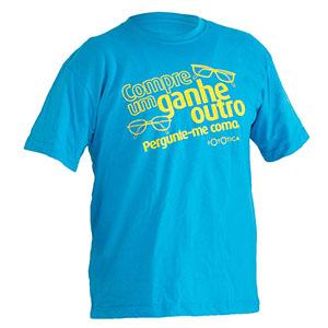 camisetas-promocionais - Camiseta gola careca, malha cardada / penteada e estampa em silk.