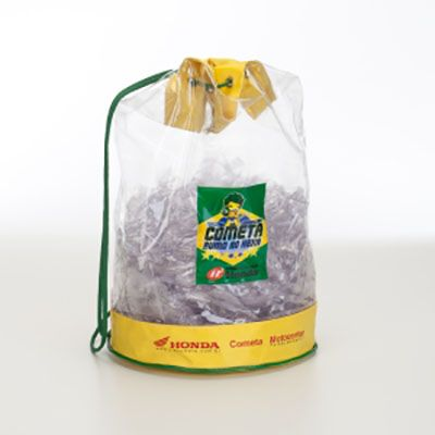 Saco mochila em pvc cristal soldado, dim.36x25cm