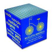 Cubo luminoso 20cmx20cm, personalizado para Editora Rocco, com Arte Bicicleta Amarela, feito em acrí...