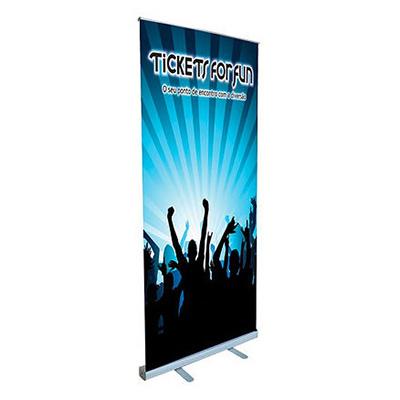 Suporte para Banner em alumínio Roll Up nas medidas de 80cm x 200cm, 100cm x 200cm e 140cm x 200cm