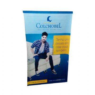 Banner - em Lona ou polietileno, medida personalizada, acabamento em bastão de madeira ou PVC, com cordão de nylon e ponteiras em PVC