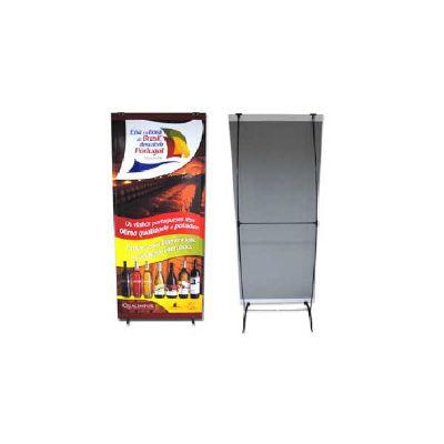 Porta banner modelo PBI185 medindo 0,90m larg  X 1,85m alt, possui sacola de nylon com alça para tra...
