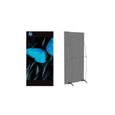 Porta banner modelo PBI215 medindo 0,90m larg.  X 2,15m alt, possui sacola de nylon com alça para tr...