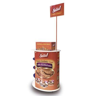 Balcão em MDF personalizado, utilizado para degustação em ponto de venda e afins.