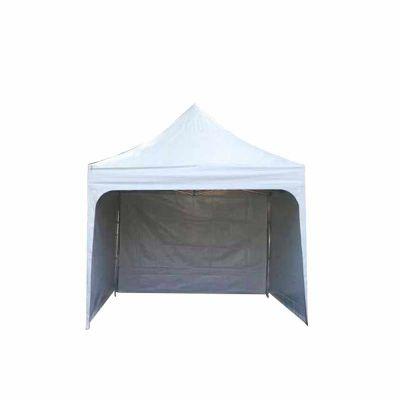 Tenda sanfonada 3x3, cor Branco padrão, para eventos, com fechamentos laterais.