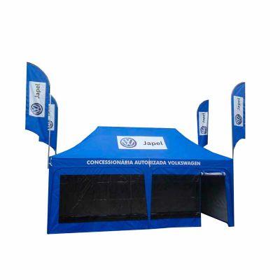 Tendas personalizadas de praia ou gazebo 6x3 sanfonada de montagem rápida com fechamentos transparen...