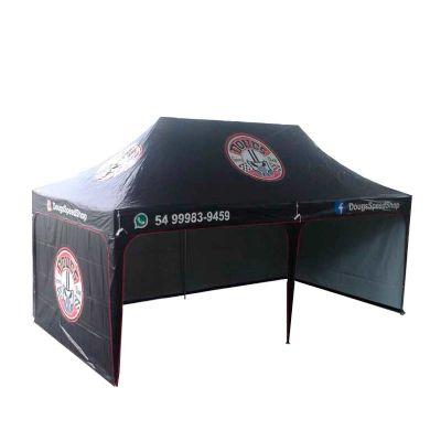Tenda sanfonada 6x3, personalizada, com Fechamentos laterais. Espeço interno amplo, é praticamente uma loja portátil, indicada para feiras e evento...