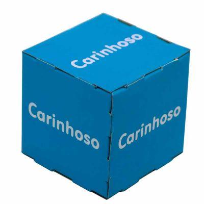 Cubo, Material para PDVs Cubo 20cm produzido com impressão em offset, substrato papel cartão.