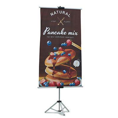 Banner med. 80x150 cm, com impressão digital de alta qualidade.