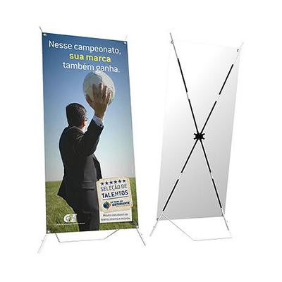 Suporte para banner modelo WI Mega, confeccionado em fibras de vidro, medindo 0,90 X 2,00. Acompanha bolsa para transporte