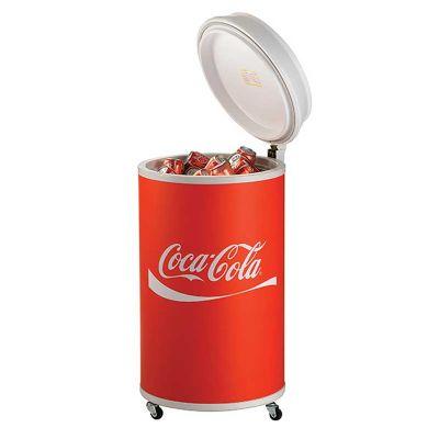 Cooler refrigerado com formato redondo, compressor e motor.