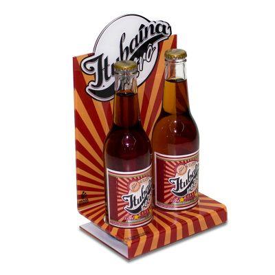 Display de mesa para expor garrafas Itubaína Retrô, feito em acrílico cristal, com impressão digital...