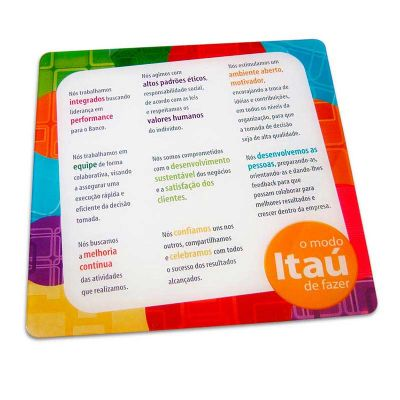 Placa de parede personalizada para o Banco Itaú, feito em acrílico cristal, com impressão digital...
